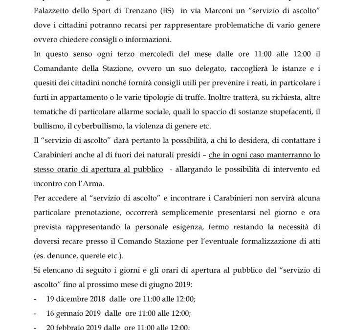 """""""Servizio di ascolto"""" della Stazione dei Carabinieri di Trenzano"""