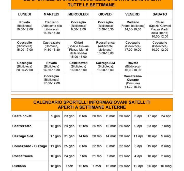 Calendario dello sportello Informagiovani 2019