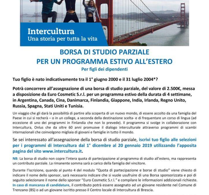 Borsa di studio Euro Cosmetic Srl per Intercultura
