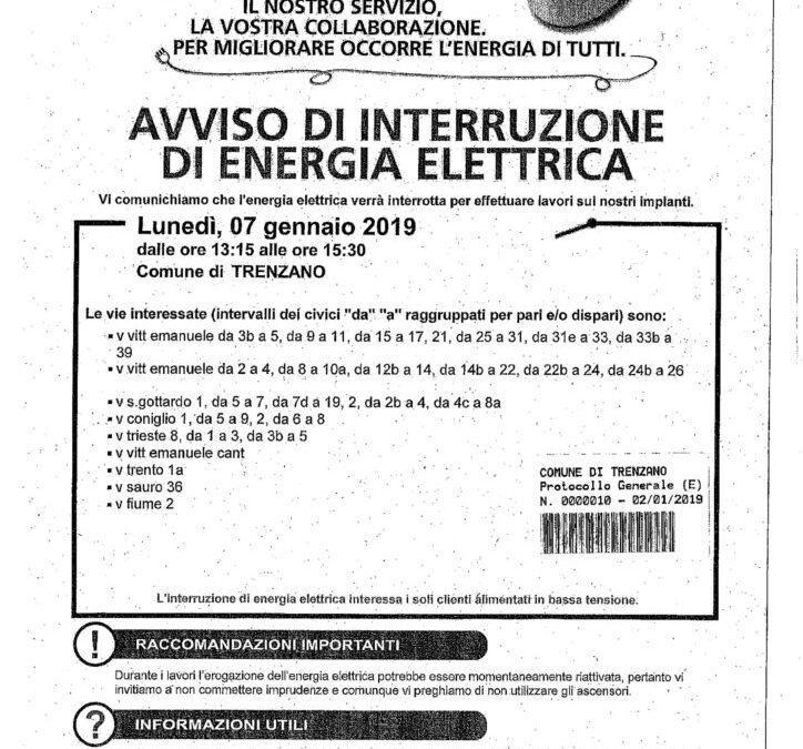 Interruzione servizio di fornitura dell'energia elettrica per Lunedì 7 Gennaio 2019
