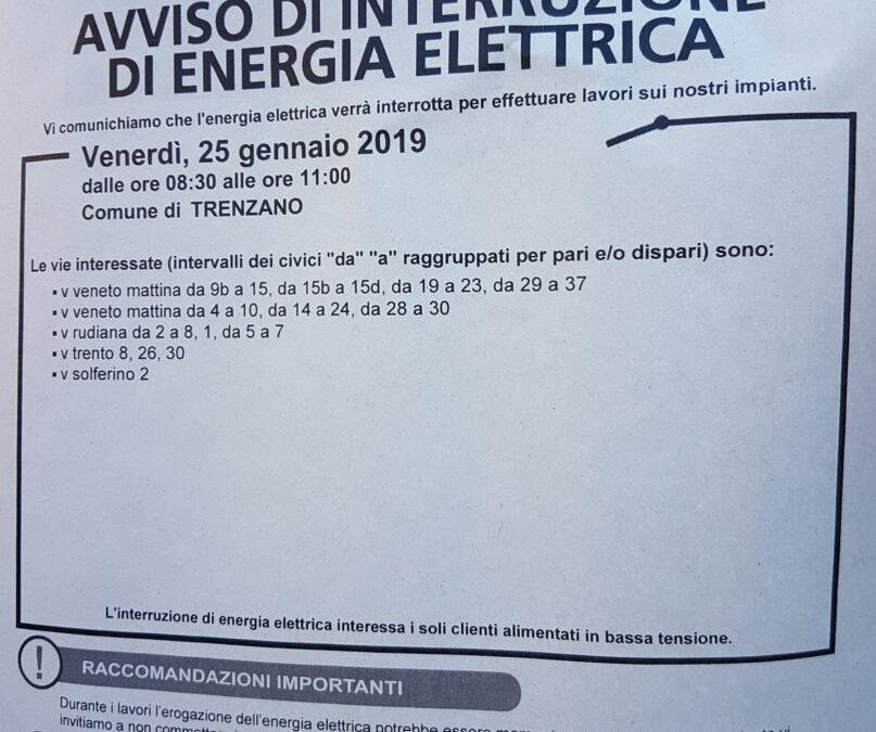 25/01/19: Interruzione servizio energia elettrica