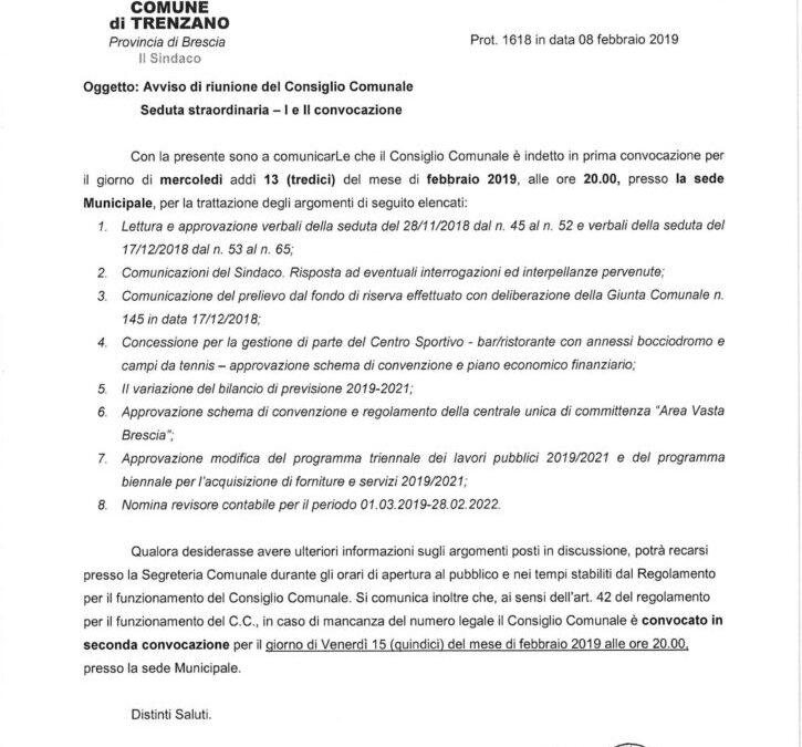 13/02/2019: Consiglio Comunale