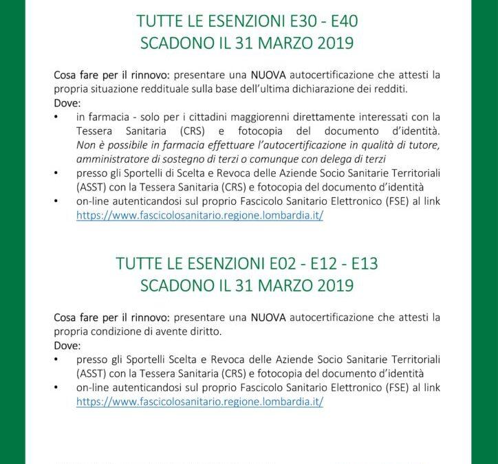 Scadenzario Esenzioni, A.T.S. Brescia