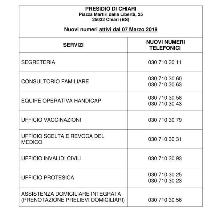 Nuovi numeri telefonici del presidio territoriale ASST FRANCIACORTA di Chiari