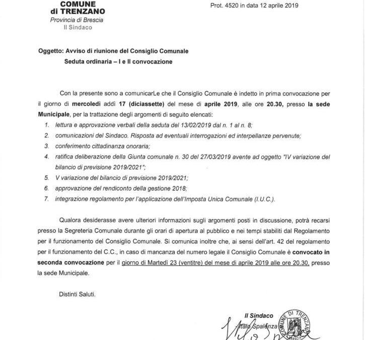 17/04/2019: Consiglio Comunale