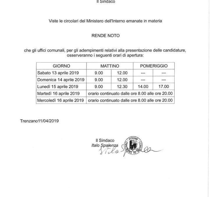 Apertura al pubblico dell'Ufficio Elettorale (Elezioni europee 2019)