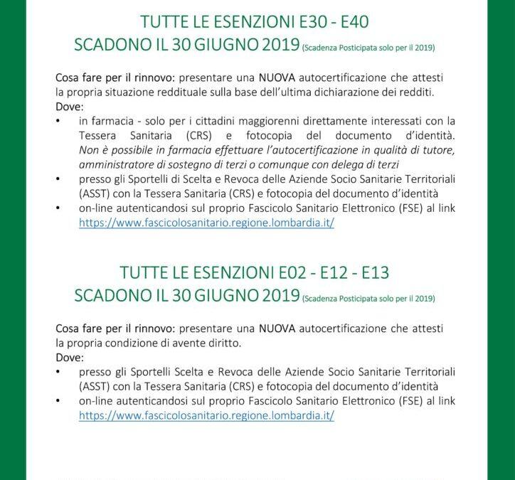 Informativa ATS Brescia, rinnovo esenzioni [AGGIORNATO]