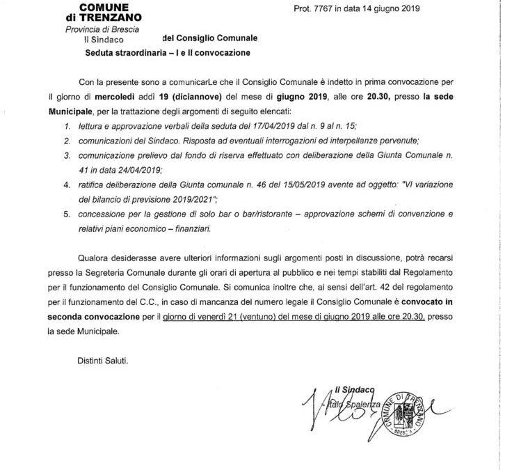 19/06/2019: Consiglio Comunale