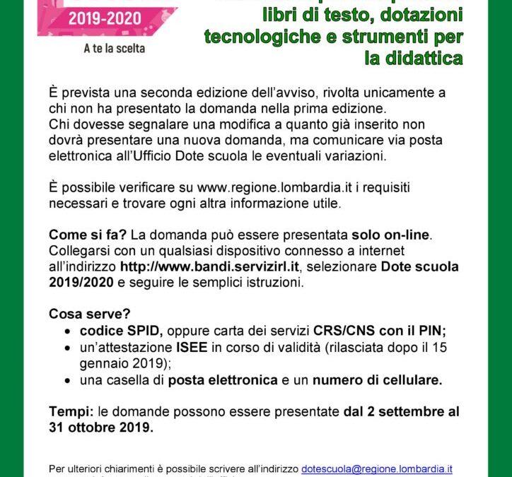 Dote Scuola 2019/2020, II^ Edizione