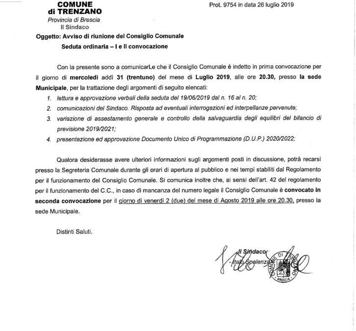 31/07/2019: Consiglio Comunale