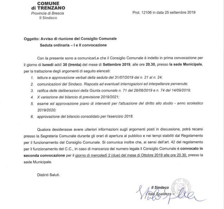 30/09/2019: Consiglio Comunale