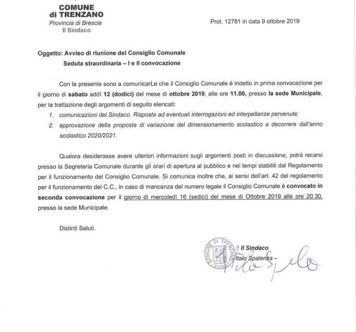 12/10/2019: Consiglio Comunale