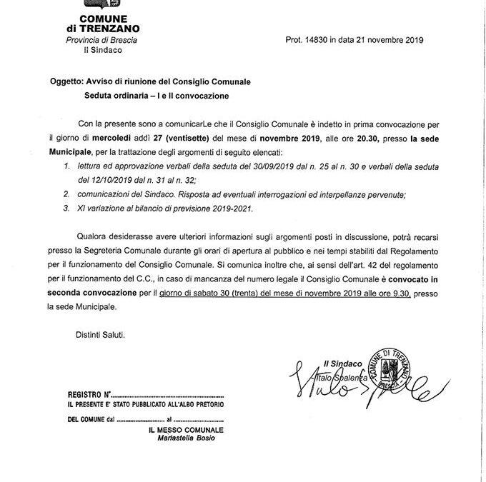 27/11/2019: Consiglio Comunale
