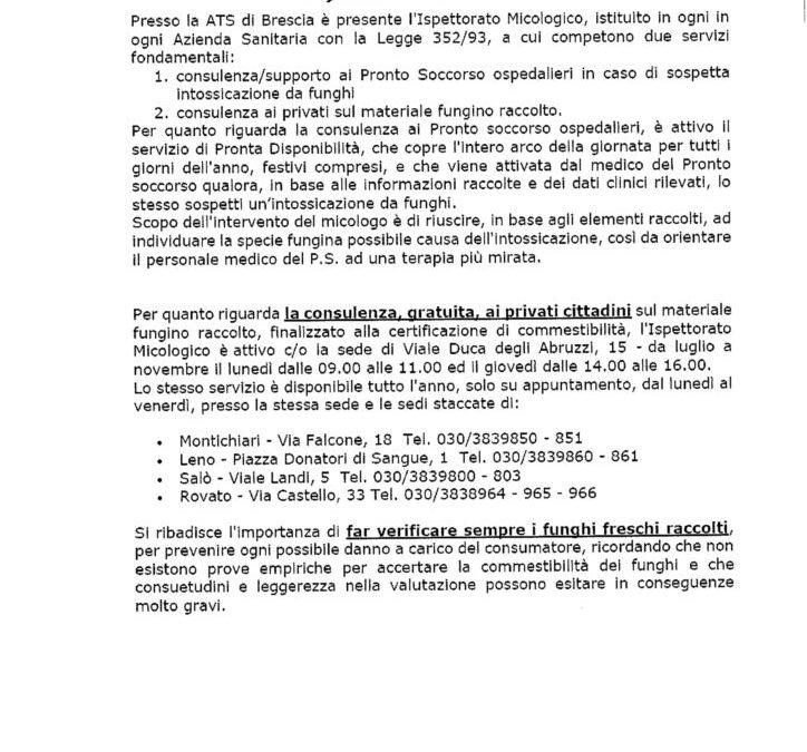 Informativa della Prefettura per intossicazione da fungo