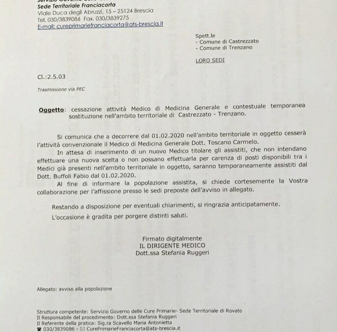 Avviso di cessazione dell'attività di MMG del Dott. Carmelo Toscano