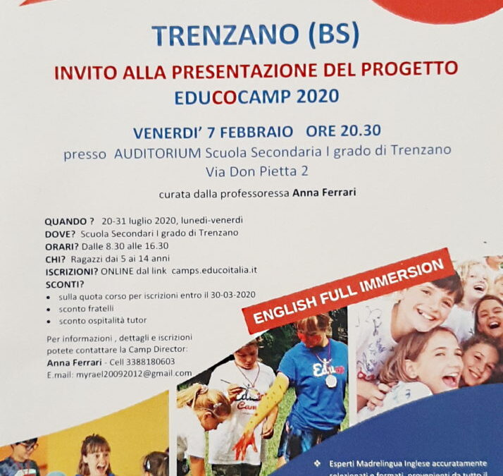 Presentazione di Educo English Camp 2020