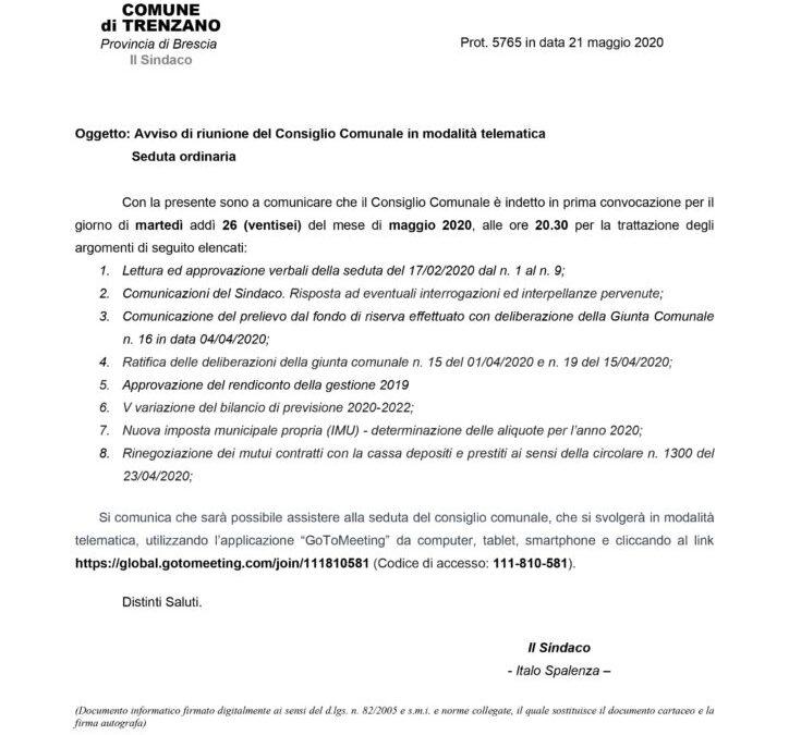 26/05/2020: Consiglio Comunale