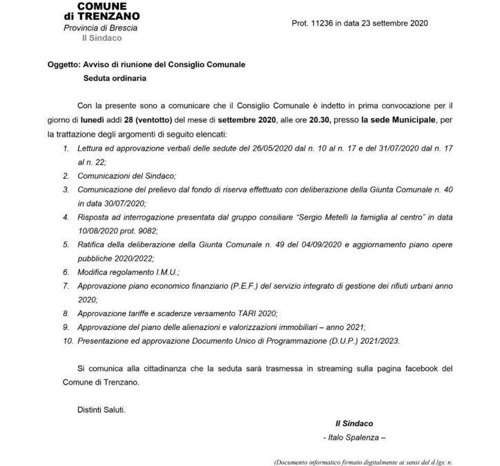 28/09/2020: Consiglio Comunale