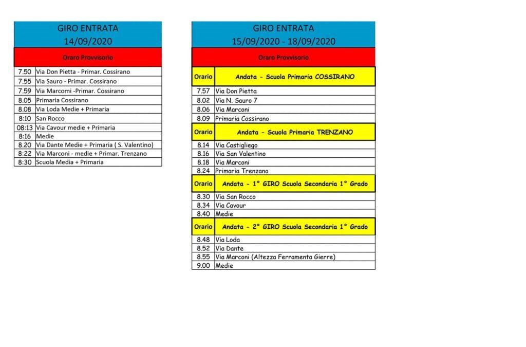 Avviso scuolabus 14-18 Settembre 2020