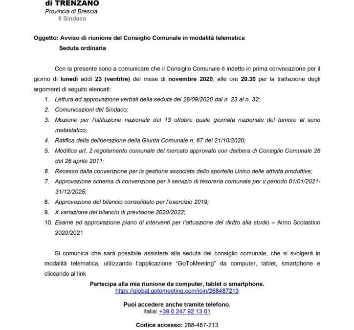 23/11/2020: Consiglio Comunale