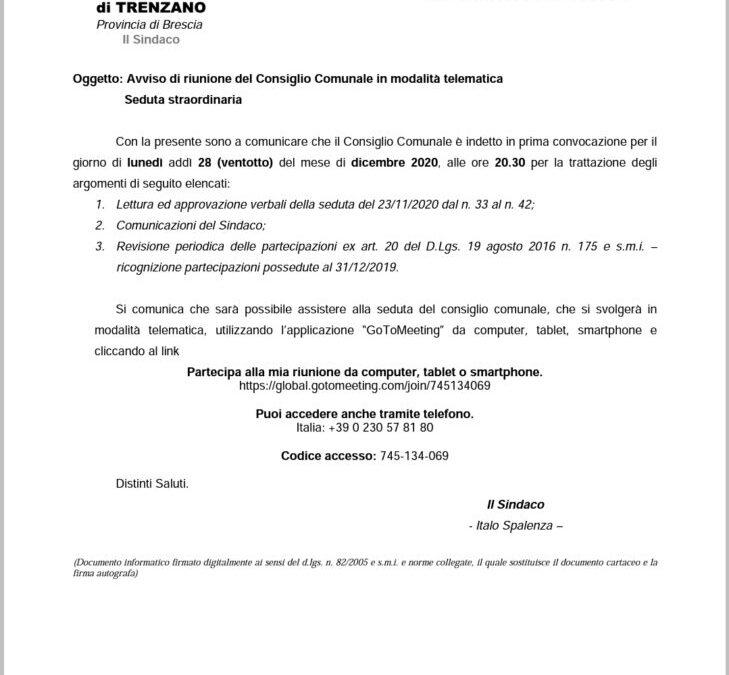 28/12/2020: Consiglio comunale