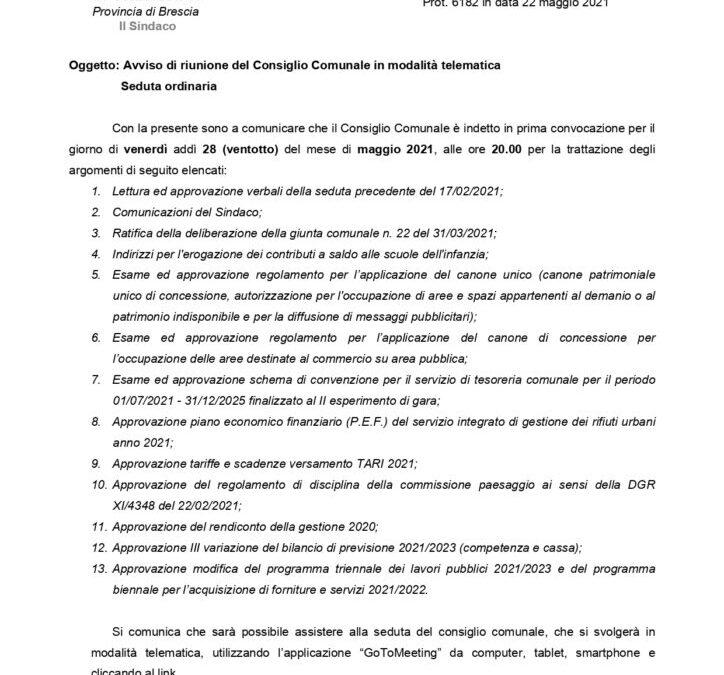 28/05/2021: Consiglio comunale