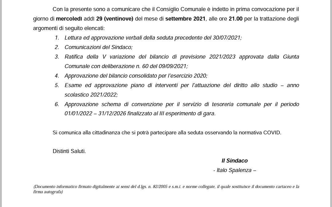 29/09/2021: Consiglio comunale