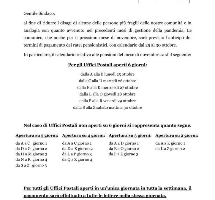 Comunicazione Poste Italiane per accredito pensioni Novembre 2021